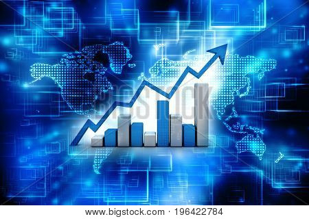 Stock market chart. Business graph background. 3d render