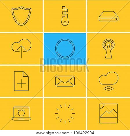 Vector Illustration Of 12 Network Icons. Editable Pack Of Wave, Refresh, Document Adding And Other Elements.