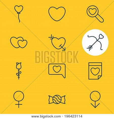 Vector Illustration Of 12 Love Icons. Editable Pack Of Messenger, Lollipop, Male And Other Elements.