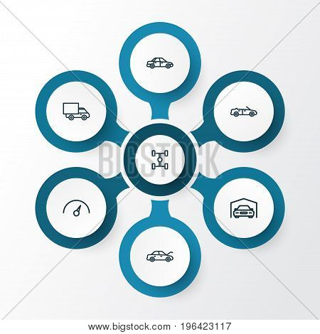 Automobile Outline Icons Set. Collection Of Lorry, Chronometer, Shed And Other Elements