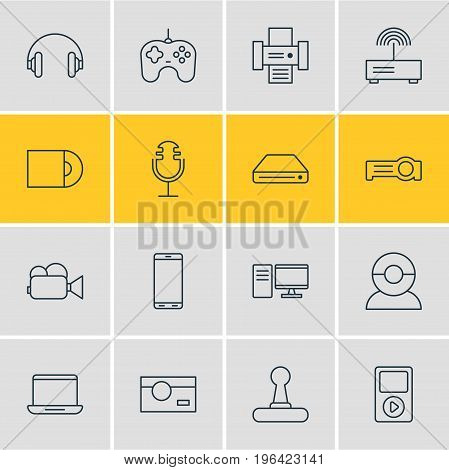 Vector Illustration Of 16 Device Icons. Editable Pack Of Media Controller, Joypad, Smartphone And Other Elements.