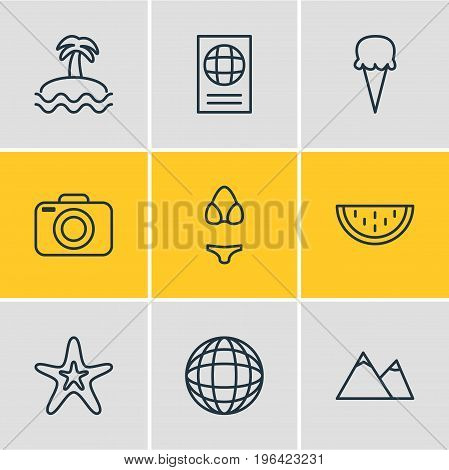 Editable Pack Of Certificate, Swimwear, Sorbet And Other Elements. Vector Illustration Of 9 Season Icons.