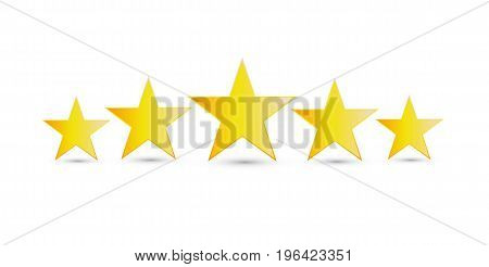 5 gold stars. Five stars icon. Vector stock.