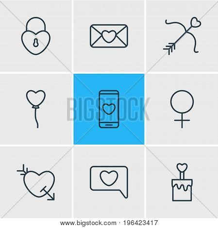 Vector Illustration Of 9 Amour Icons. Editable Pack Of Invitation, Lock , Candle Elements.