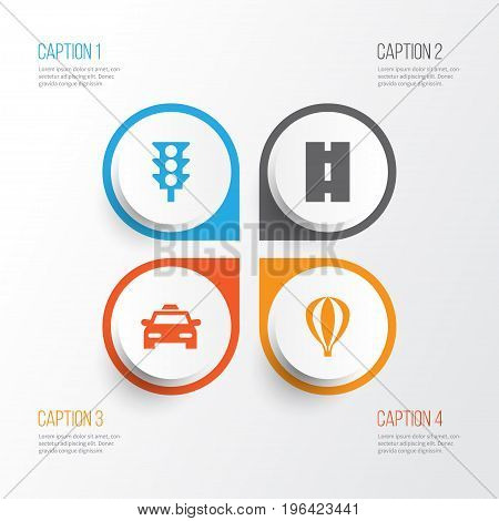Transport Icons Set. Collection Of Way, Cab, Airship And Other Elements