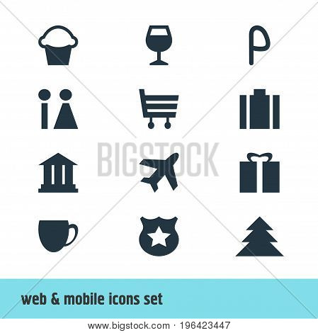 Vector Illustration Of 12 Check-In Icons. Editable Pack Of Coffee Shop, Briefcase, Wineglass And Other Elements.