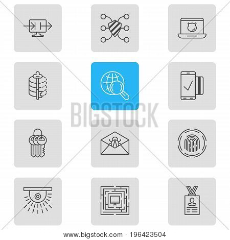 Editable Pack Of Send Information, Account Data, Corrupted Mail And Other Elements. Vector Illustration Of 12 Data Icons.