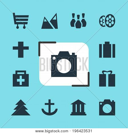 Editable Pack Of Anchor, Jungle, Film And Other Elements. Vector Illustration Of 12 Check-In Icons.