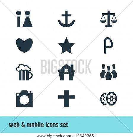 Vector Illustration Of 12 Check-In Icons. Editable Pack Of Skittles, Bookmark, Film And Other Elements.