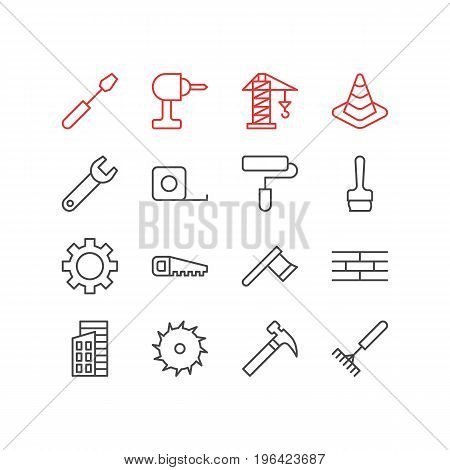 Vector Illustration Of 16 Structure Icons. Editable Pack Of Turn Screw, Apartment, Hacksaw And Other Elements.