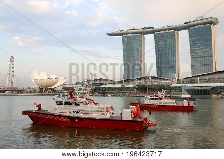 SINGAPORE - JULY 8, 2017 : Faster fire response vessels and new marine bases are on the cards as the Singapore Civil Defence Force (SCDF), during Singapore National Day.