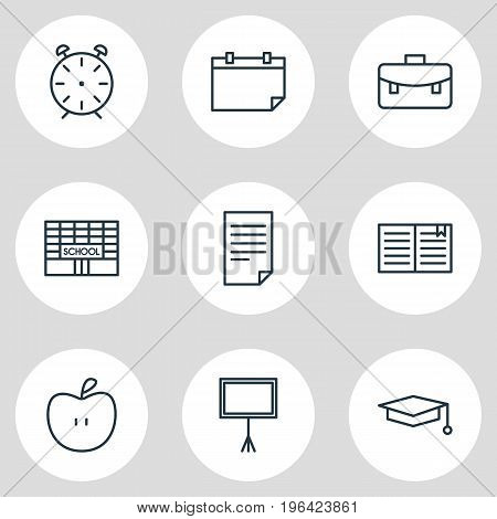 Vector Illustration Of 9 Education Icons. Editable Pack Of Write Table, Portfolio, Date And Other Elements.