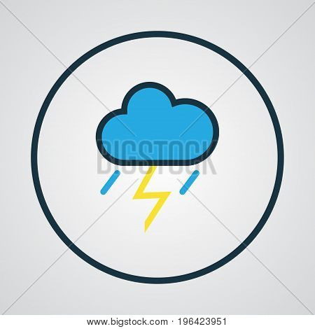 Cloudburst Colorful Outline Symbol. Premium Quality Isolated Thunderstroke Element In Trendy Style.