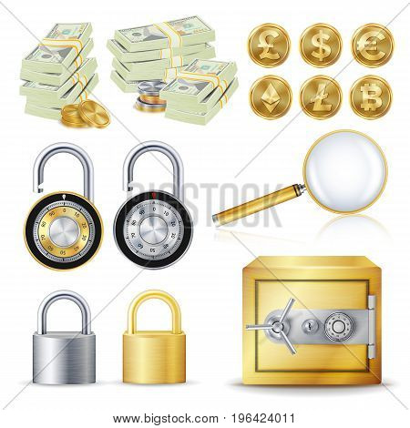 Finance Secure Concept Vector. Gold Coins, Money Banknotes Stacks, Encryption Padlock, Safe, Magnifying Glass. Dollar, Euro, GBP, Bitcoin Litecoin Etherum Banking Illustration Isolated