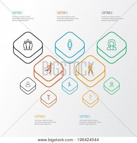 Human Outline Icons Set. Collection Of Team, User, Running And Other Elements