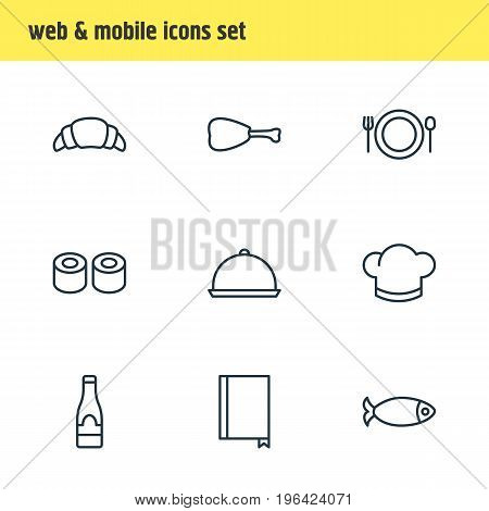 Vector Illustration Of 9 Restaurant Icons. Editable Pack Of Hat, Alcohol, Food And Other Elements.
