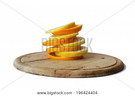 fresh tasty colorful closeup orange and lemon in a white background on a wooden plate
