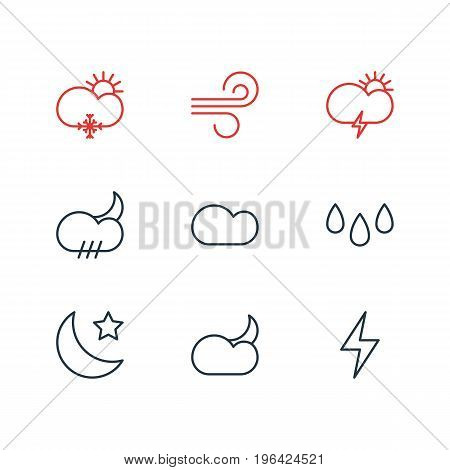 Vector Illustration Of 9 Atmosphere Icons. Editable Pack Of Drip, Breeze, Moon Month And Other Elements.