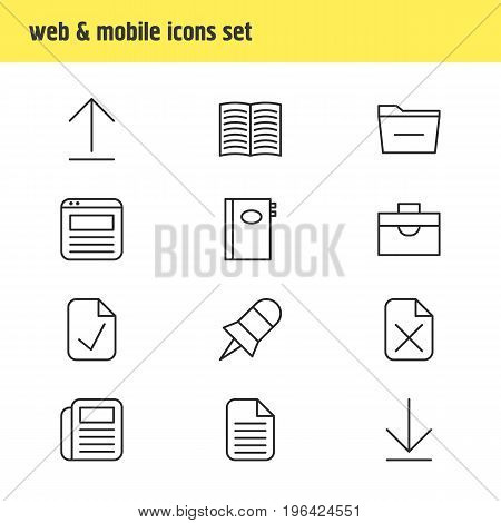 Editable Pack Of Downloading, Journal, Page And Other Elements. Vector Illustration Of 12 Workplace Icons.