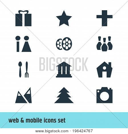 Vector Illustration Of 12 Location Icons. Editable Pack Of Toilet, Cafe, University And Other Elements.