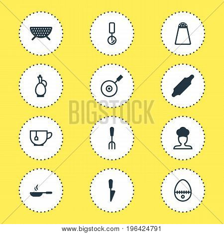 Editable Pack Of Kitchen Dagger, Mug, Fork And Other Elements. Vector Illustration Of 12 Restaurant Icons.