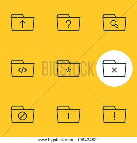Editable Pack Of Magnifier, Submit, Significant And Other Elements. Vector Illustration Of 9 Dossier Icons.