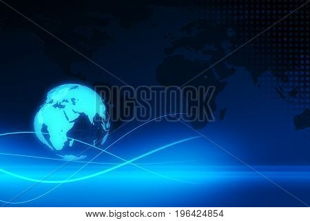 Blue Earth Technology, Business And Communications Background 3D Illustration