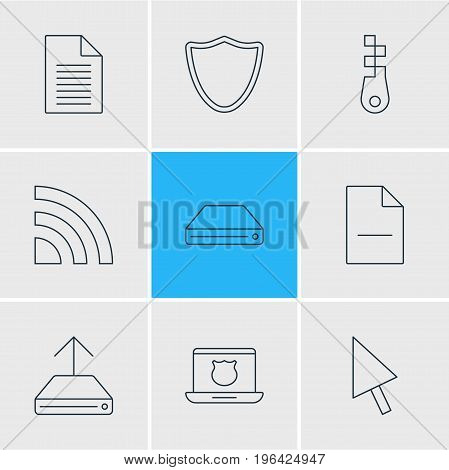 Vector Illustration Of 9 Internet Icons. Editable Pack Of Hdd Sync, Removing File, Fastener And Other Elements.