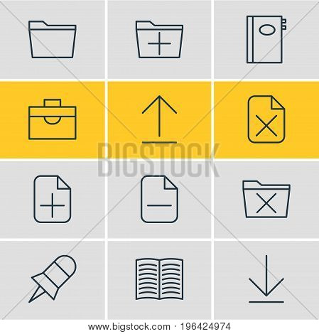 Editable Pack Of Portfolio, Minus, Delete And Other Elements. Vector Illustration Of 12 Workplace Icons.