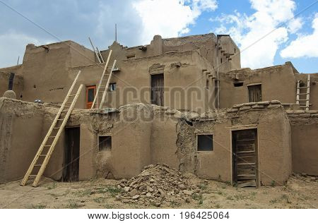 TAOS, NEW MEXICO, JULY 5. The Taos Pueblo on July 5, 2017, near Taos, New Mexico. A View of South House at the Taos Pueblo near Taos in New Mexico.