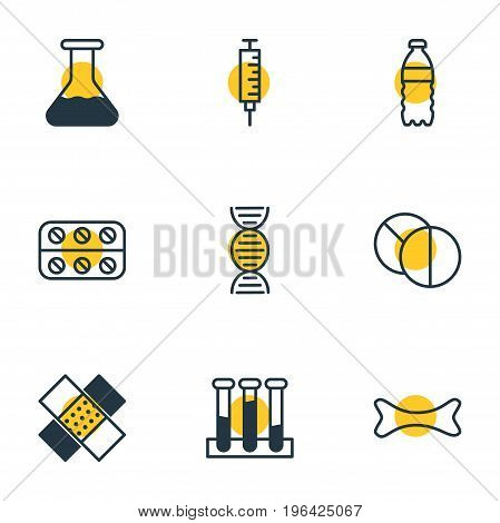 Editable Pack Of Patch, Osseous, Round Tablet And Other Elements. Vector Illustration Of 9 Health Icons.