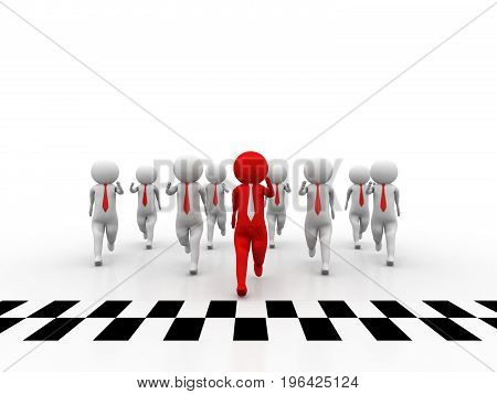 3d people - man, people and finish line. Success