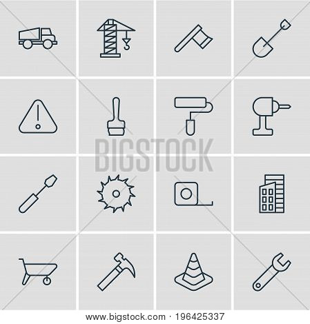Editable Pack Of Handle Hit, Spade, Caution Elements. Vector Illustration Of 16 Industry Icons.