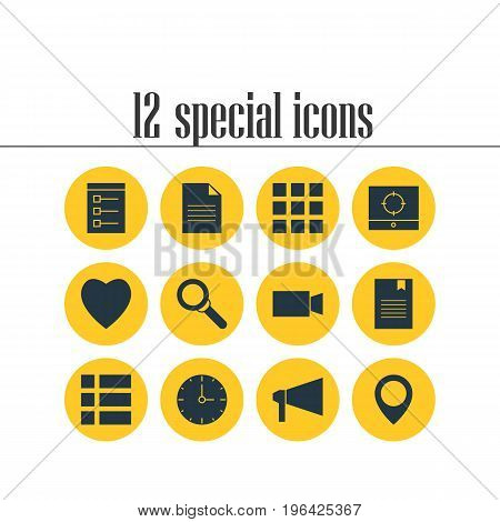 Editable Pack Of Clock, Target Scope, Magnifier And Other Elements. Vector Illustration Of 12 Internet Icons.