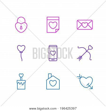Editable Pack Of Arrow, Home, Valentine And Other Elements. Vector Illustration Of 9 Amour Icons.