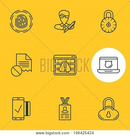 Vector Illustration Of 9 Security Icons. Editable Pack Of Safe Storage, Data Error, Account Data And Other Elements.