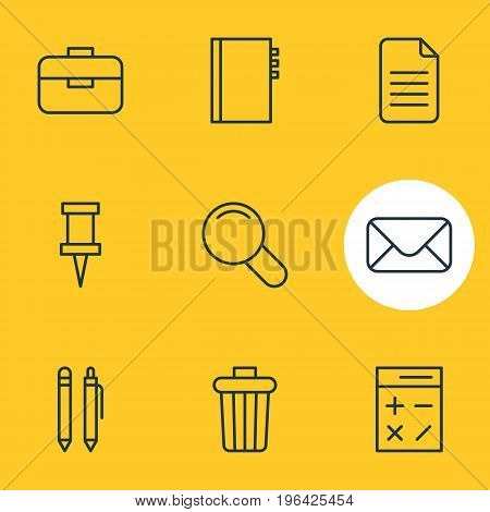 Vector Illustration Of 9 Stationery Icons. Editable Pack Of Portfolio, Pushpin, Garbage Container And Other Elements.