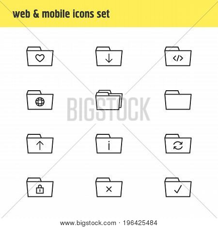 Vector Illustration Of 12 Document Icons. Editable Pack Of Script, Submit, Information And Other Elements.