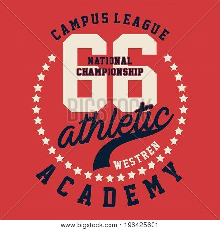 graphic design CAMPUS LEAGUE ATHLETIC for shirt and print