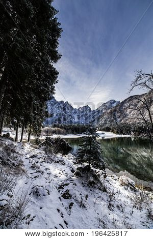 First Snow At The Mountain Lake