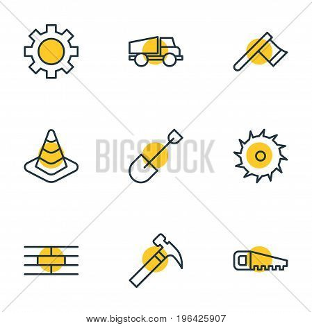 Editable Pack Of Circle Blade, Barrier, Handle Hit Elements. Vector Illustration Of 9 Structure Icons.