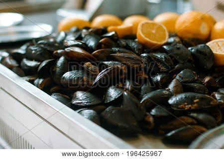 Stuffed Mussels with Lemon in Istanbul. Turkey.
