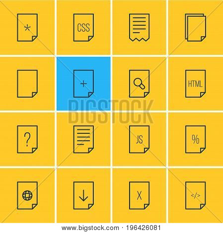 Vector Illustration Of 16 Page Icons. Editable Pack Of Style, HTML, Percent And Other Elements.