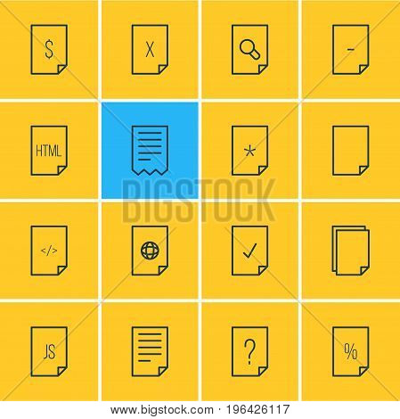 Editable Pack Of Search, File, Folder And Other Elements. Vector Illustration Of 16 File Icons.