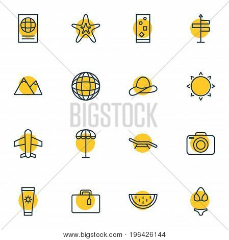 Editable Pack Of Melon, Photo Apparatus, Umbrella And Other Elements. Vector Illustration Of 16 Summer Icons.