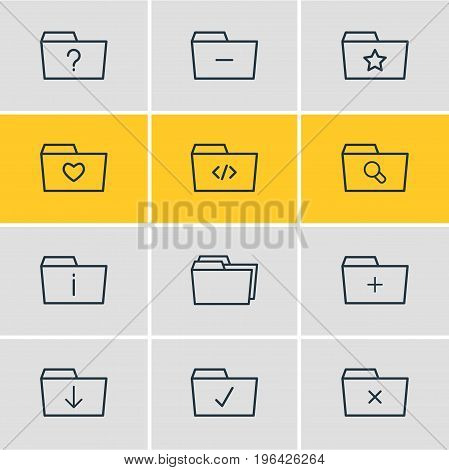 Editable Pack Of Minus, Question, Information And Other Elements. Vector Illustration Of 12 Document Icons.