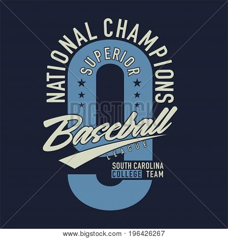 graphic design national champions superior baseball league for shirt and print