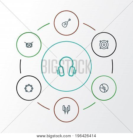 Multimedia Outline Icons Set. Collection Of Strings, Plastic, Earphones And Other Elements