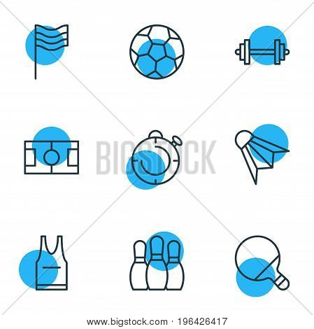 Editable Pack Of T-Shirt, Barbell, Pong And Other Elements. Vector Illustration Of 9 Sport Icons.