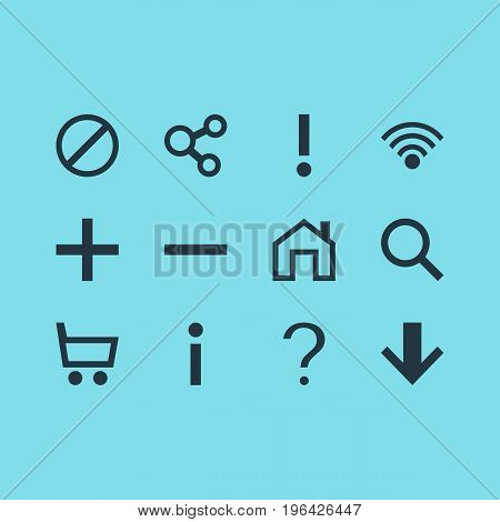 Editable Pack Of Magnifier, Minus, Help And Other Elements. Vector Illustration Of 12 User Icons.